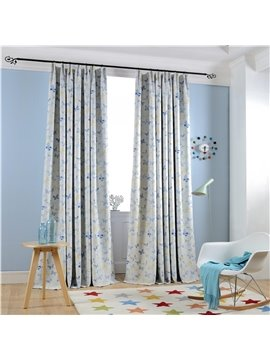 Country Style Blue Butterfly Printing Custom Curtain