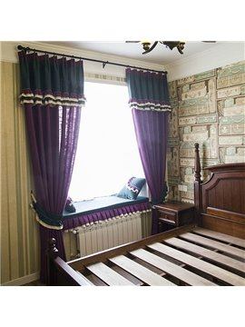 Country Style Purple and Dark Green Cloth Splicing Custom Curtain