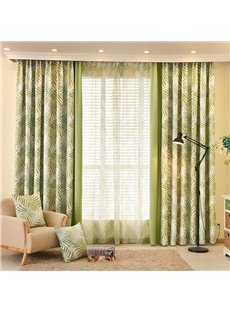 Country Style Green Leaf and Solid Cloth Splicing Custom Curtain
