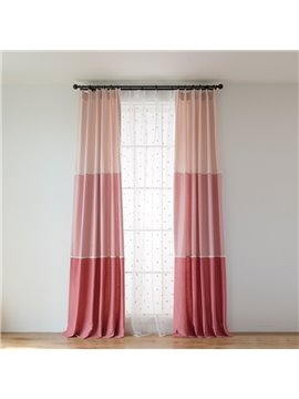 Princess Style Pink Three Colors Cloth Splicing Custom Curtain