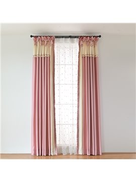 Princess Style Pink Colors Splicing Custom Curtain with Bow-Knot