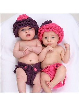Cute Falbala Design Knit Baby Cloth Photo Prop