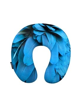 Vivid 3D Blue Feather Print U-Shape Memory Foam Neck Pillow