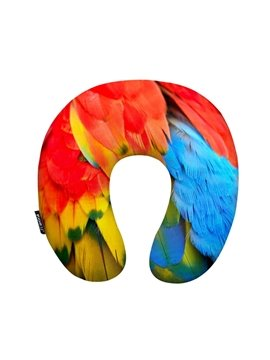 Personalized Colorful Feather Print U-Shape Memory Foam Neck Pillow