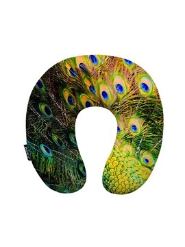Lifelike Peacock Feather Print U-Shape Memory Foam Neck Pillow