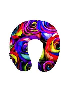 Sweet 3D Rose Print Washable U-Shape Neck Travel Pillow
