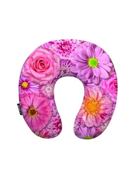 Lovely Pink Rose and Daisy Print U-Shaped Neck Pillow