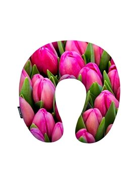 Elegant Pink Tulip Print U-Shape Memory Foam Neck Pillow
