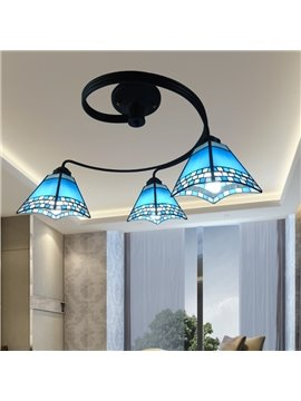 Blue Iron Mediterranean Style Black Frame 3 Bulbs Decorative Flush Mount