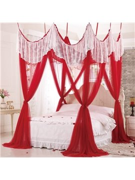 Dreamy Rococo Style Red Polyester Eight-point Bed Canopy