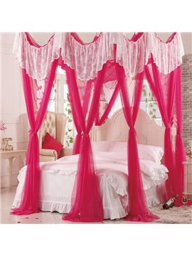 Exclusive Rococo Style Red Eight Corner Polyester Bed Canopy