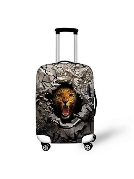 Cool Leopard Behind Stone Hole Pattern 3D Painted Luggage Protector Cover