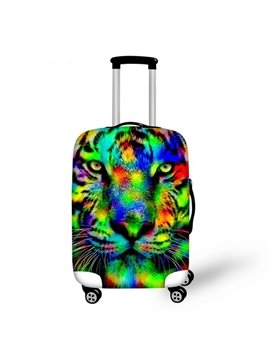 Multicolor Tiger Pattern 3D Painted Luggage Cover