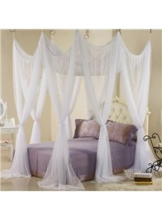 Fabulous White Polyester Eight Corner Bed Canopy