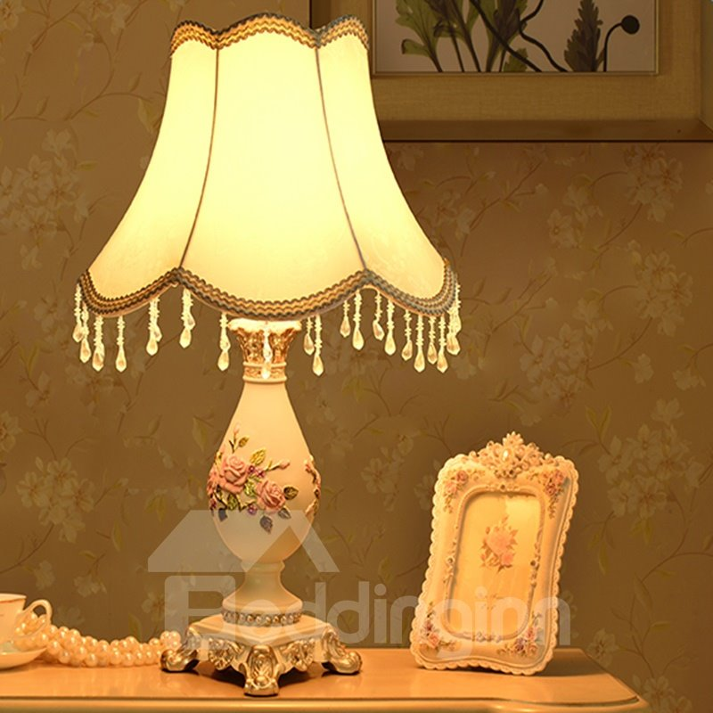 Decorative Resin Country Style Flower Pattern Home Decorative Table Lamp 12698960