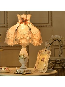 Lovely Modern Style Resin Flower Pattern Home Decorative Table Lamp