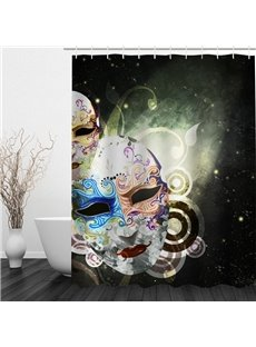 Colored Masquerade Mask Printing Bathroom 3D Shower Curtain
