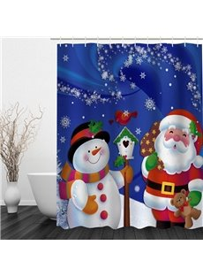 Cute Santa Snowman Talking Printing Christmas Theme Bathroom 3D Shower Curtain