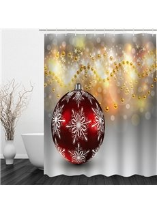 Christmas Ball Printing Bathroom Waterproof 3D Shower Curtain