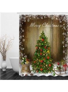Vivid Christmas Tree Printing Bathroom 3D Shower Curtain