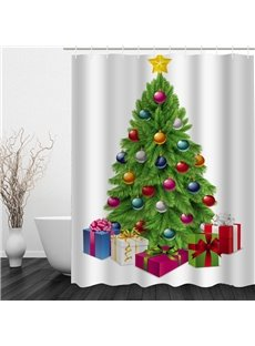 Clip Art Christmas Tree Printing Waterproof Bathroom 3D Shower Curtain