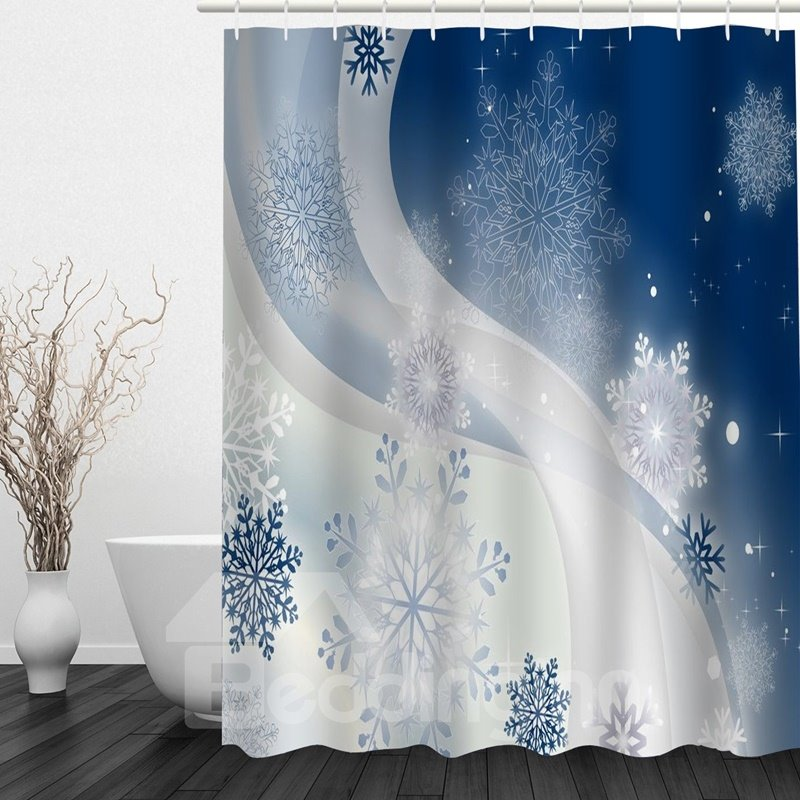 Delicate Snow Flower Printing Christmas Theme Bathroom 3d Shower Curtain