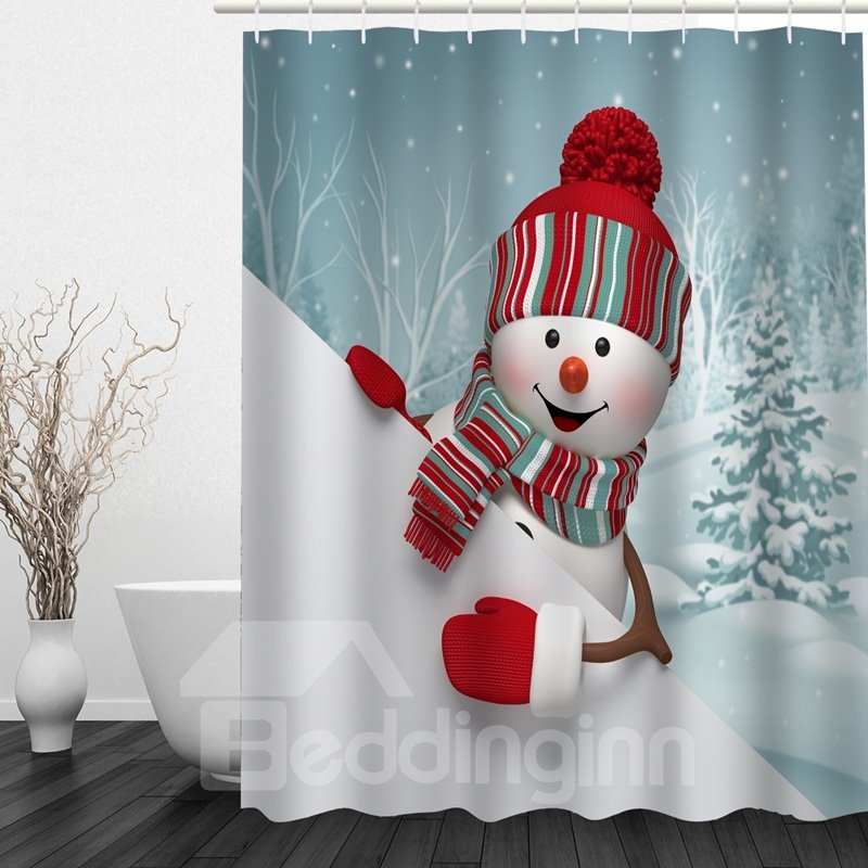 Cute Cartoon Snowman Printing Bathroom Christmas Decor