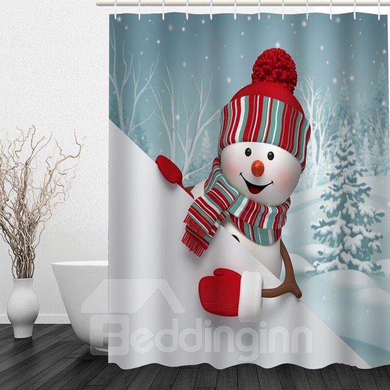 Cute cartoon snowman printing bathroom christmas decor for Christmas accessories