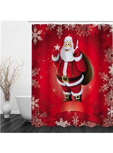 Red Santa Printing Christmas Theme Bathroom 3D Shower Curtain