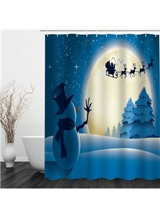 Snowman Waving to Santa Printing Christmas Theme Bathroom 3D Shower Curtain