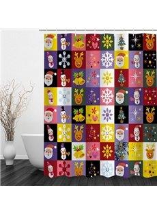 Cute Cartoon Christmas Theme Printing Bathroom 3D Shower Curtain