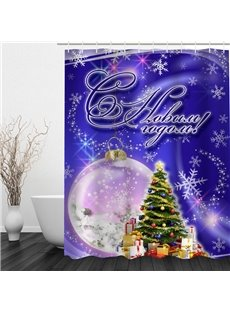 Romantic Purple Christmas Theme Bathroom 3D Shower Curtain