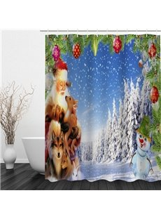 Kind Santa and Snowman Printing Christmas Theme Bathroom 3D Shower Curtain