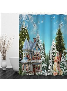 Santa and Magic House in the Forest Printing Christmas Theme Bathroom 3D Shower Curtain