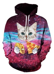 Lovely Long Sleeve Cat Eat Pizza Pattern 3D Painted Hoodie