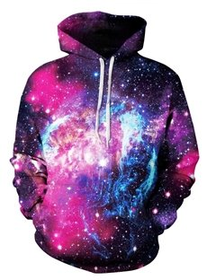 Bright Long Sleeve Purple Galaxy Pattern 3D Painted Hoodie
