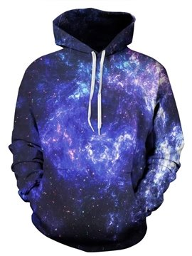 Mysterious Long Sleeve Dark Purple Galaxy Pattern 3D Painted Hoodie