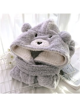 Cute Grey Bear Design Cashmere Women Bathrobe with Hood