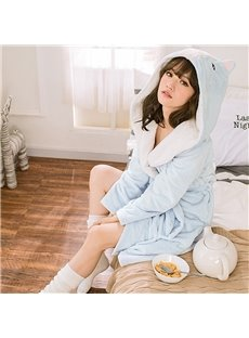 Sweet Blue Bear Design Warm Coral Cashmere Women Bathrobe With Hood