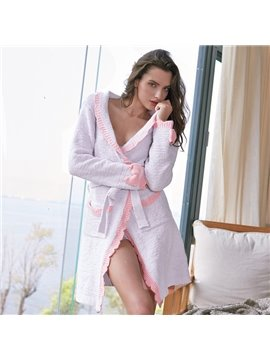Sexy Thickened Warm Light Purple Cashmere Women Bathrobe