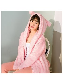 Warm Pink Cute Cat Design Cashmere Women Bathrobe