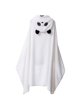 Cute Panda Cape Design Warm Coral Cashmere Women Bathrobe