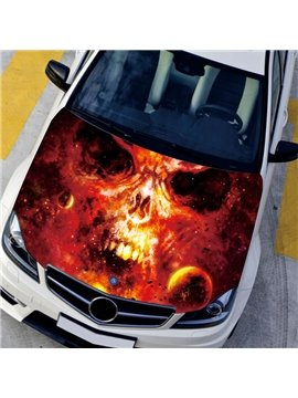 Abstract Planet With Angry Skeleton Skull Style Creative Car Sticker