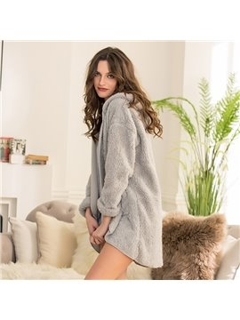 Grey Thickened Warm Coral Cashmere Women Bathrobe
