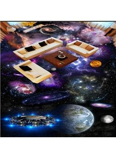 Colorful Modern Design Planets Print Home Decorative Waterproof 3D Floor Murals