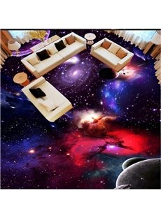 Creative Fashion Design Galaxy Print Home Decorative Waterproof 3D Floor Murals