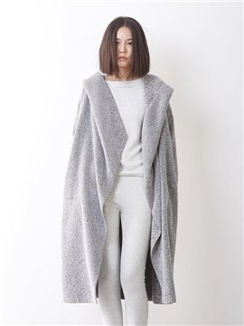 Concise Solid Color Grey Hooded Women's Bathrobe
