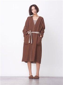 Designer Coffee Color Woolen Cloth Women's Bathrobe