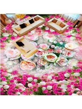 Warm Modern Design Flower Print Waterproof Splicing Decorative 3D Floor Murals