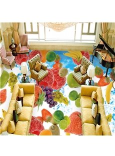 Amusing Modern Design Fruits Print Waterproof Splicing 3D Floor Murals